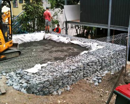 Site-filled gabions are great for areas for tough access.